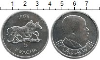 Изображение Монеты Малави 5 квач 1978 Серебро Proof-