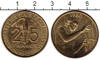 Изображение Монеты Западная Африка 25 франков 1980 Латунь UNC-