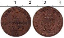Изображение Монеты Германия Пруссия 2 пфеннига 1861 Медь XF-