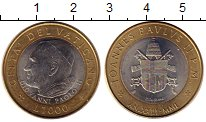 Изображение Монеты Ватикан 1000 лир 2001 Биметалл UNC-