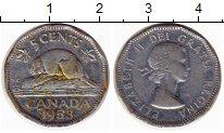 Изображение Монеты Северная Америка Канада 5 центов 1953 Медно-никель XF-