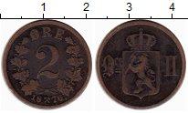 Изображение Монеты Норвегия 2 эре 1876 Медь XF- Оскар II