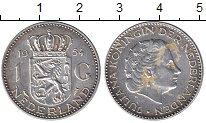 Изображение Монеты Европа Нидерланды 1 гульден 1954 Серебро VF