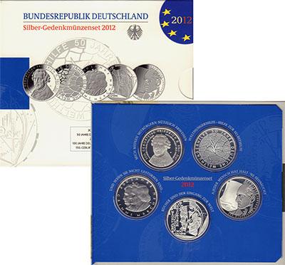 Изображение Подарочные монеты Европа Германия 5 монет по 10 евро 2014 года 2012 Серебро Proof