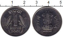 Изображение Монеты Азия Индия 1 рупия 2001 Сталь UNC-