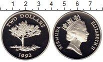 Изображение Монеты Великобритания Бермудские острова 2 доллара 1992 Серебро Proof-