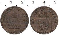 Изображение Монеты Германия Пруссия 4 пфеннига 1866 Медь XF-