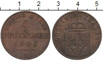 Изображение Монеты Германия Пруссия 4 пфеннига 1858 Медь XF-