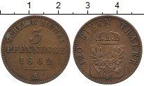 Изображение Монеты Германия Пруссия 3 пфеннига 1862 Медь XF