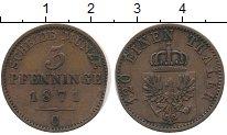 Изображение Монеты Германия Пруссия 3 пфеннига 1871 Медь VF