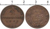 Изображение Монеты Германия Пруссия 2 пфеннига 1865 Медь XF