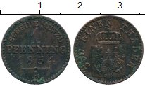 Изображение Монеты Германия Пруссия 1 пфенниг 1854 Медь XF