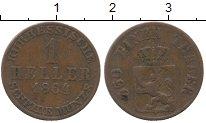Изображение Монеты Германия Гессен-Кассель 1 хеллер 1864 Медь XF-