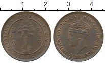 Изображение Монеты Цейлон 1 цент 1942 Бронза XF Георг VI