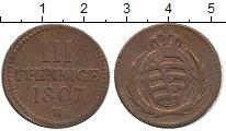 Изображение Монеты Германия Саксония 3 пфеннига 1807 Медь XF-