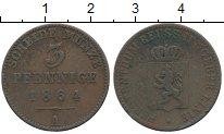 Изображение Монеты Германия Рейсс-Шляйц 3 пфеннига 1864 Медь XF-
