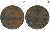 Изображение Монеты Бавария 2 пфеннига 1864 Медь XF-