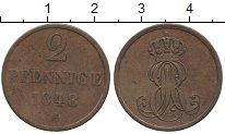 Изображение Монеты Германия Ганновер 2 пфеннига 1848 Медь VF