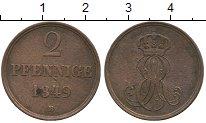 Изображение Монеты Ганновер 2 пфеннига 1849 Медь VF