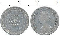 Изображение Монеты Индия 2 анны 1887 Серебро VF Виктория
