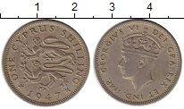 Изображение Монеты Азия Кипр 1 шиллинг 1947 Медно-никель XF