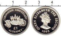 Изображение Монеты Великобритания Олдерни 1 фунт 1993 Серебро Proof