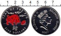 Изображение Монеты Соломоновы острова 5 долларов 2007 Медно-никель UNC Год свиньи
