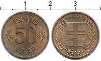 Изображение Монеты Европа Исландия 50 аурар 1971 Латунь XF