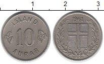 Изображение Монеты Исландия 10 аурар 1961 Медно-никель XF