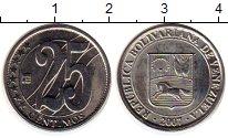 Изображение Монеты Венесуэла 25 сентим 2007 Медно-никель XF Герб Венесуэлы