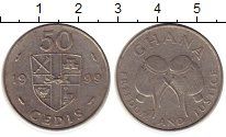 Изображение Монеты Африка Гана 50 седи 1999 Медно-никель XF-