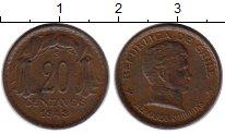 Изображение Монеты Чили 20 сентаво 1943 Бронза XF Бернардо О Хиггинс