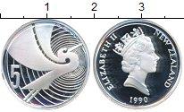 Изображение Мелочь Новая Зеландия 5 центов 1990 Серебро Proof-