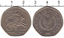 Изображение Монеты Кипр 50 центов 1991 Медно-никель UNC-