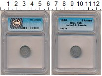 Изображение Монеты Индия 2 анны 1895 Серебро VF Штат Барода. Крайне