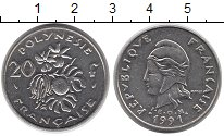 Изображение Монеты Полинезия 20 франков 1991 Медно-никель XF