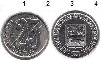 Изображение Монеты Южная Америка Венесуэла 25 сентим 2007 Медно-никель XF