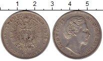 Изображение Монеты Бавария 2 марки 1876 Серебро XF+ Людвиг II