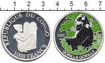 Изображение Монеты Африка Конго 1000 франков 2005 Серебро Proof