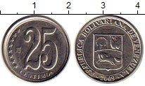 Изображение Монеты Южная Америка Венесуэла 25 сентим 2009 Медно-никель XF