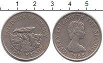Изображение Монеты Остров Джерси 10 пенсов 1988 Медно-никель XF Елизавета II