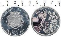 Изображение Монеты Африка Конго 1000 франков 2015 Серебро Proof-