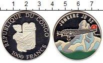 Изображение Монеты Конго 1000 франков 1995 Серебро Proof-