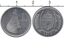 Изображение Монеты Африка Ботсвана 1 тебе 1976 Алюминий UNC-