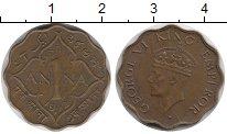 Изображение Монеты Азия Индия 1 анна 1942 Латунь VF