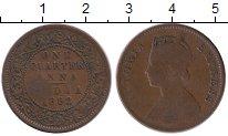 Изображение Монеты Индия 1/4 анны 1892 Медь VF