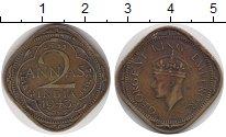 Изображение Монеты Азия Индия 2 анны 1943 Латунь XF-