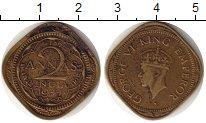 Изображение Монеты Индия 2 анны 1944 Латунь XF- Георг VI