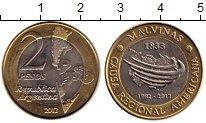 Изображение Монеты Аргентина 2 песо 2012 Биметалл UNC-