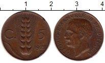 Изображение Монеты Европа Италия 5 чентезимо 1922 Бронза XF